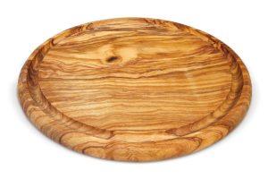 Круглая разделочная из оливкового дерева с фрезеровкой