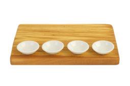 Доска из оливы + 4 маленьких керамических миски