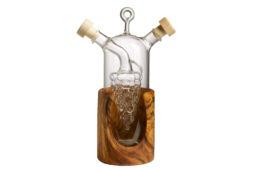 Бутылка для масла и уксуса в деревянной подставке из оливы